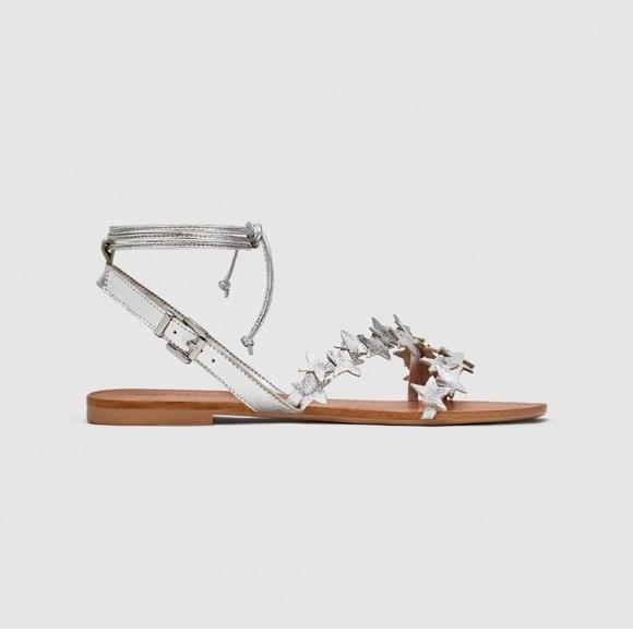 7768903eb Zara Silver leather flat sandals. M 5b8002fd9fe4868a48485aa8
